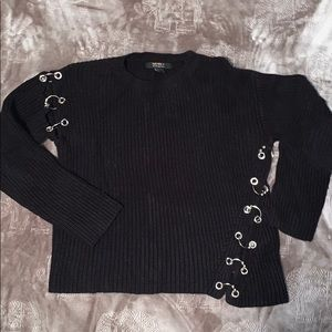 Black Long Sleeve Sweater with Silver Links Size S